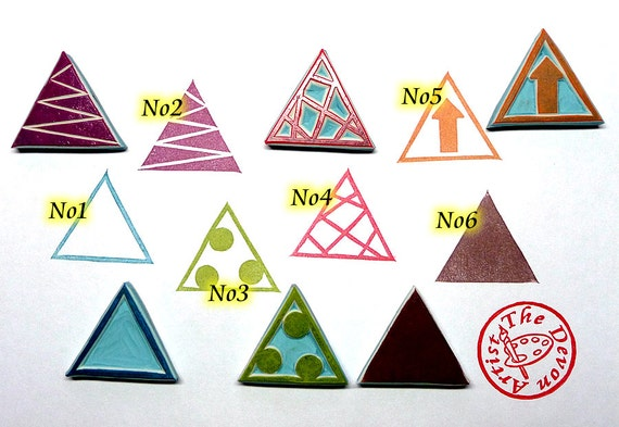 Triangle stamp geometric hand carved rubber stamps pattern