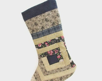 Handmade Christmas Stocking from Log Cabin Quilt