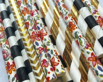 24 flower floral boho black white gold garden Tea party paper Straws girl birthday party baby bridal shower Straws decorations wedding