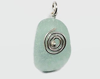 Seafoam Beach Glass Pendant Wire Wrapped with Sterling Silver