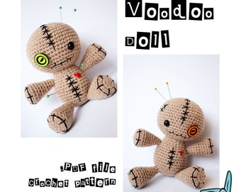 Sitting Voodoo Doll. Pincushion. Amigurumi crochet pattern. Digital file only. ENG.