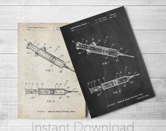 Medical Printables, Syringe Patent Poster, Nurse Practitioner Gift, Doctor Gift, Medical Art, PP1080
