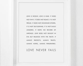 Love is Patient, Love is Kind, Bible Verse Print, 1 Corinthians 13 : 4-8, Christian Print, Bible Print, Bible Art, Scripture Art Print