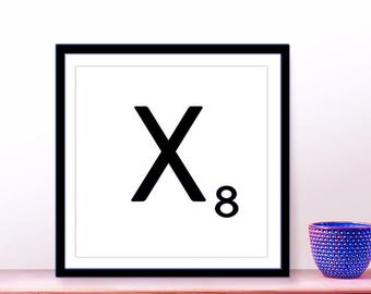 Printable Scrabble Letter X, Scrabble Wall Art, Instant Download, Printable Art, Printable Print, Alphabet Wall Words, Personalize Word Art