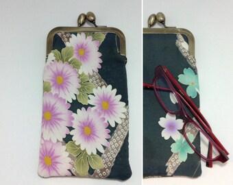 Green Eye glass case/ Smartphone case /Vintage Japanese Kimono fabric case /Sun glass case / Hand-made/37