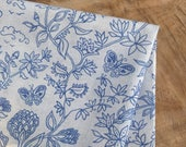 Boho Fabric, Indian Block Print Pattern | Indigo blue floral botanical print on soft grey cotton, plants and butterflies of India.