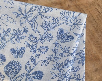 Boho Fabric with Block Print Pattern | Bohemian, indigo blue floral fabric, Indian boho floral with butterflies on soft gray cotton fabric.