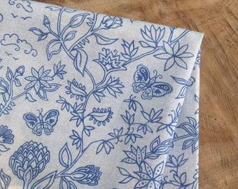 Boho Fabric, Indian Block Print Pattern | Cotton print fabric, Indian floral butterfly fabric, deep blue and soft gray fabric, garden fabric