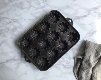 """Turks Cast Iron Muffin Pan /Cast Iron Gem Pan / Marked """"Y"""""""