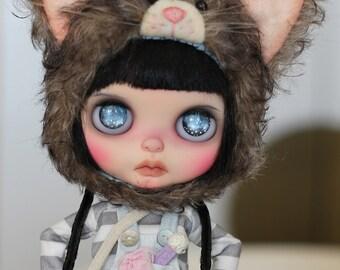 Beary Heaven Dark Calico Mohair Kitty Cat Hat Helmet for Blythe doll