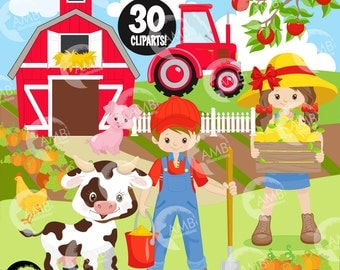 Farm clipart, farm animals clipart, farmer clipart, sheep clipart, barn clipart, red barn clipart, tractor clipart, AMB-1494