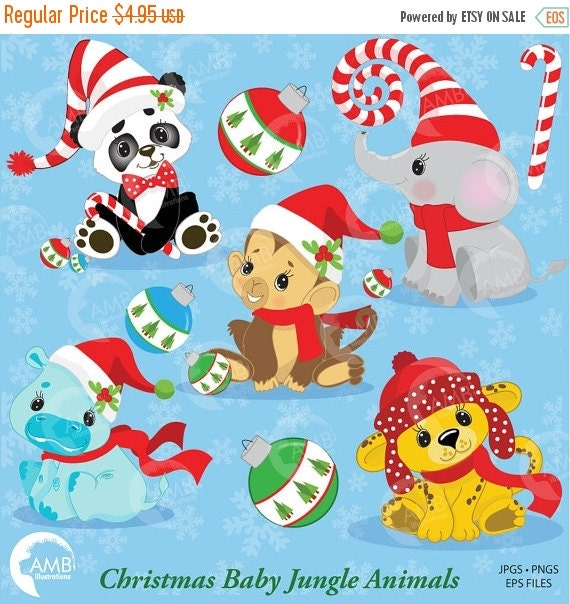 80 Off Christmas Jungle Animals Clipart Baby By