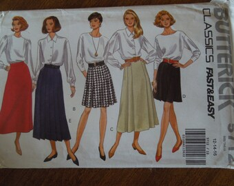 Butterick 5712, sizes 12-16, A-line or flared skirts, misses, womens, UNCUT sewing pattern, craft supplies