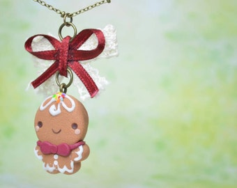 Kawaii/ Cute Gingerbread Man Necklace