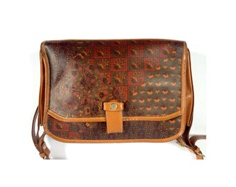 Printed Leather Shoulder Bag. Tan Leather Shoulder Bag. Brown Leather Shoulder Bag. Vintage Brown Leather Bag. Cross Body Bag. Brown Leather