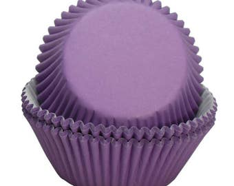 75 PC Solid Purple Cupcake Wrappers Set - regular size cupcake liners from Bakell - DJ176