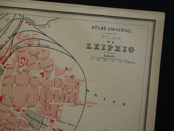 LEIPZIG Old Map Of Leipzig Lovely Original Antique City - Map of leipzig