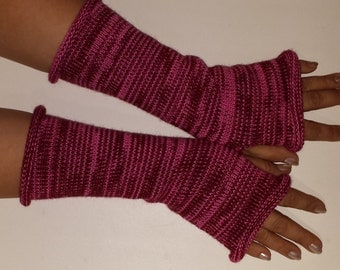 Knit Fingerles Gloves, PINK GLOVES, Fall Gloves, Red Gloves, Texting Gloves, Multi Color Gloves, Multi stripe Gloves, Texting Mitts