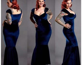 Navy Blue BURLESQUE Rock n Roll MERMAID Dress, Long Vintage Bridesmaid Dress in stretch Velvet, Sexy Rockabilly Prom Cocktail Party