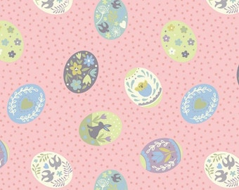 Lewis & Irene Salisbury Spring Patchwork Quilting Fabric A208.2 Painted eggs on pink