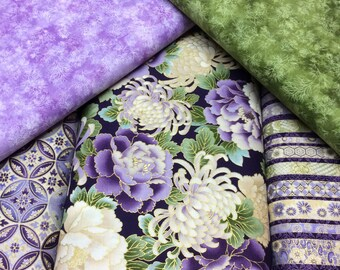 5 Fabric 'SPECIAL OFFER' Bundle Robert Kaufman - Japanese Print with Gold Metallic Tones Imperial Collection 8 Hyacinth