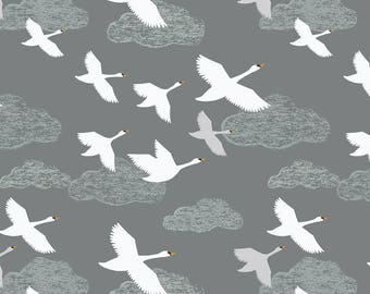Down by the River A221.3 Swans in Flight on Grey Lewis & Irene Patchwork Quilting Dressmaking Fabric
