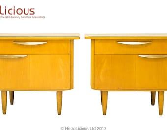 Pair Italian Mid Century Sycamore Bedside Tables Gloss Brass Retro Vintage