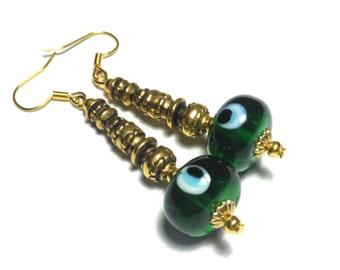 Green Evil Eye Earrings - Gold Tone - Glass Bead, Vintage Style - Hooks, Clip-On or Butterfly Studs (ET1-9)