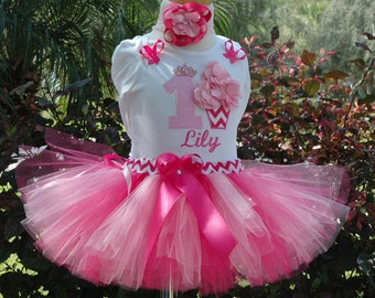 First Birthday Cupcake Tutu Outfit, Baby Girl,One Year Old,Pink,1st