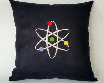 Atom Cushion Cover, Chemistry cushion, science pillow, quantum physics, science gifts, gifts for science students, unusual gifts