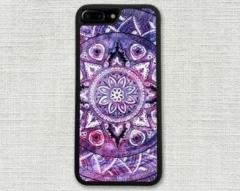 Purple Mandala iPhone 7 Case, Custom iPhone 7 Plus Case, Pretty Hipster Boho Bohemian 1244