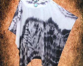 Minimalist Wearable Art Hand dyed Blouse Poncho Top Tunic