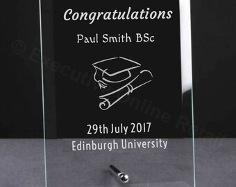 Personalised Graduation Gift Glass Plaque - Engraved Graduation Gifts, University Graduation Gifts, Academic Gifts, Graduation Plaques
