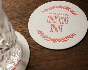 Letterpress Christmas Coasters - Christmas Spirit 6 Pack
