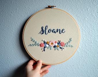 Floral Baby Name Art, Embroidery Hoop, Custom Name Sign, Wildflower Nursery Art, Personalized Nursery Decor, Baby Shower Gift, Laurel Branch