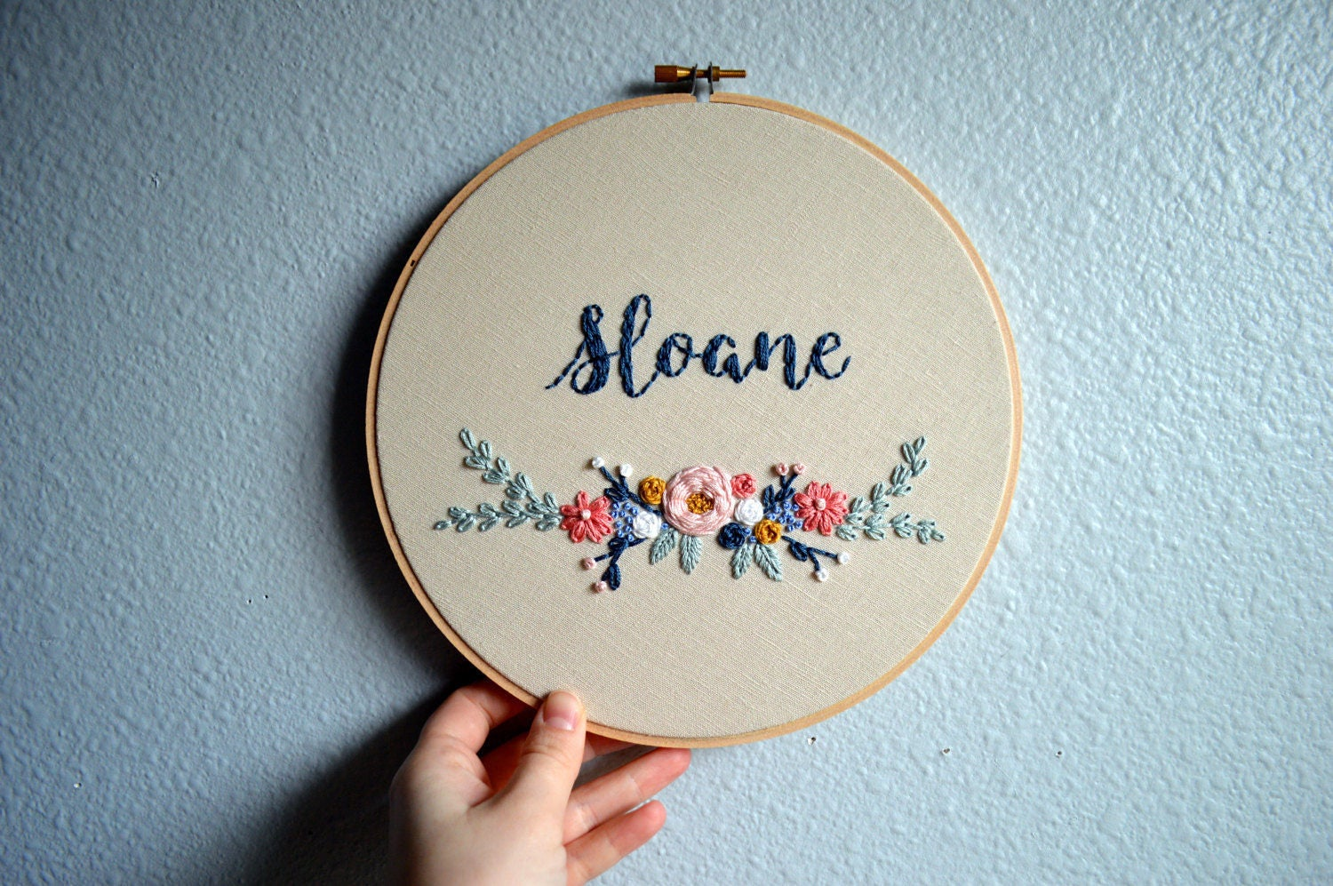 Floral baby name art embroidery hoop custom sign
