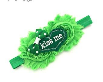 St Patricks day Baby, St Patricks Day, Kiss me I'm Irish, Green Headband, Green Baby Headband, 1st St Patricks Day, Baby St Patricks Day