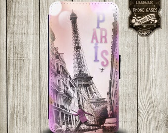 "Handytasche, Leather Wallet Phone Case  iPhone & Samsung,Sony Xperia  ""  Paris"""