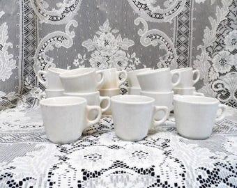 15 Buffalo China Restaurant Ware Coffee Cups-Ivory Stoneware-Old Heavy Duty Ironstone-Retro Diner Mugs-Vintage Drinkware-Orphaned Treasure