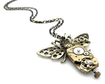 Clockpunk Yellowjacket - Steampunk Wasp Pendant - Artisan Wasp Pendant - Edwardian steampunk necklace - steampunk gift idea