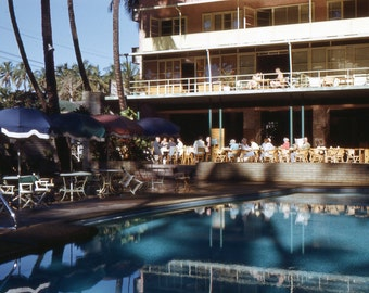 Vintage Red Border Kodachrome Slide..Hotel Swimming Pool, Hawaii 1950's Original Found Photo, Vernacular Photography