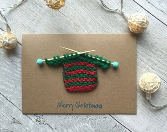 Knitting Patterns For Christmas Cards : Novelty jumper Etsy