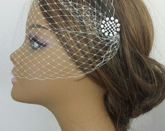 BIRDCAGE VEIL With Rhinestone Cluster Hairpins or Combs - 2 Sizes, 4 Colors - White, Ivory, Champagne or Black