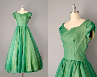 1950's ball gown / 50s dress / irridescent Green Layered Organdy Gown / M - L