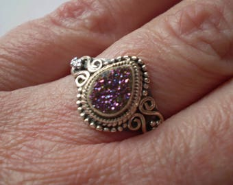 Titanium Drusy 925 Antiqued Sterling Silver Ring Size 8.75