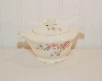 Vintage Edwin M. Knowles Lidded Sugar Bowl (c. 1940's) Semi Vitreous, Cottage Floral, Pink Roses, Bluebells, Made In USA, Vintage China