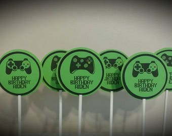 Gamer Birthday Party Cupcake Toppers - Video Game Party Cupcake Toppers - Birthday Party Cupcake Toppers - Set of 12