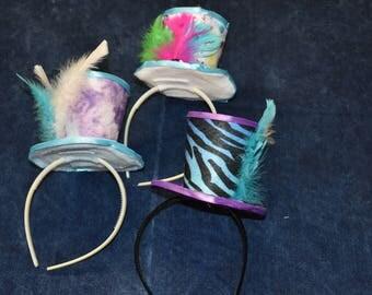 Mini Top Hat Fascinator Purple and Blue