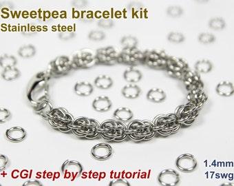 Sweetpea Bracelet Kit, Chainmaille Kit, Stainless Steel, Chainmail Kit, DIY Kit, Jump Rings, Sweetpea Tutorial, Chainmaille Tutorial