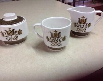 Dunmore Ironstone Creamer sugar cup set, dunmore polka dot pattern, dunmore dishware, dunmore tea set, Pennsylvania Dutch, folk art, vintage